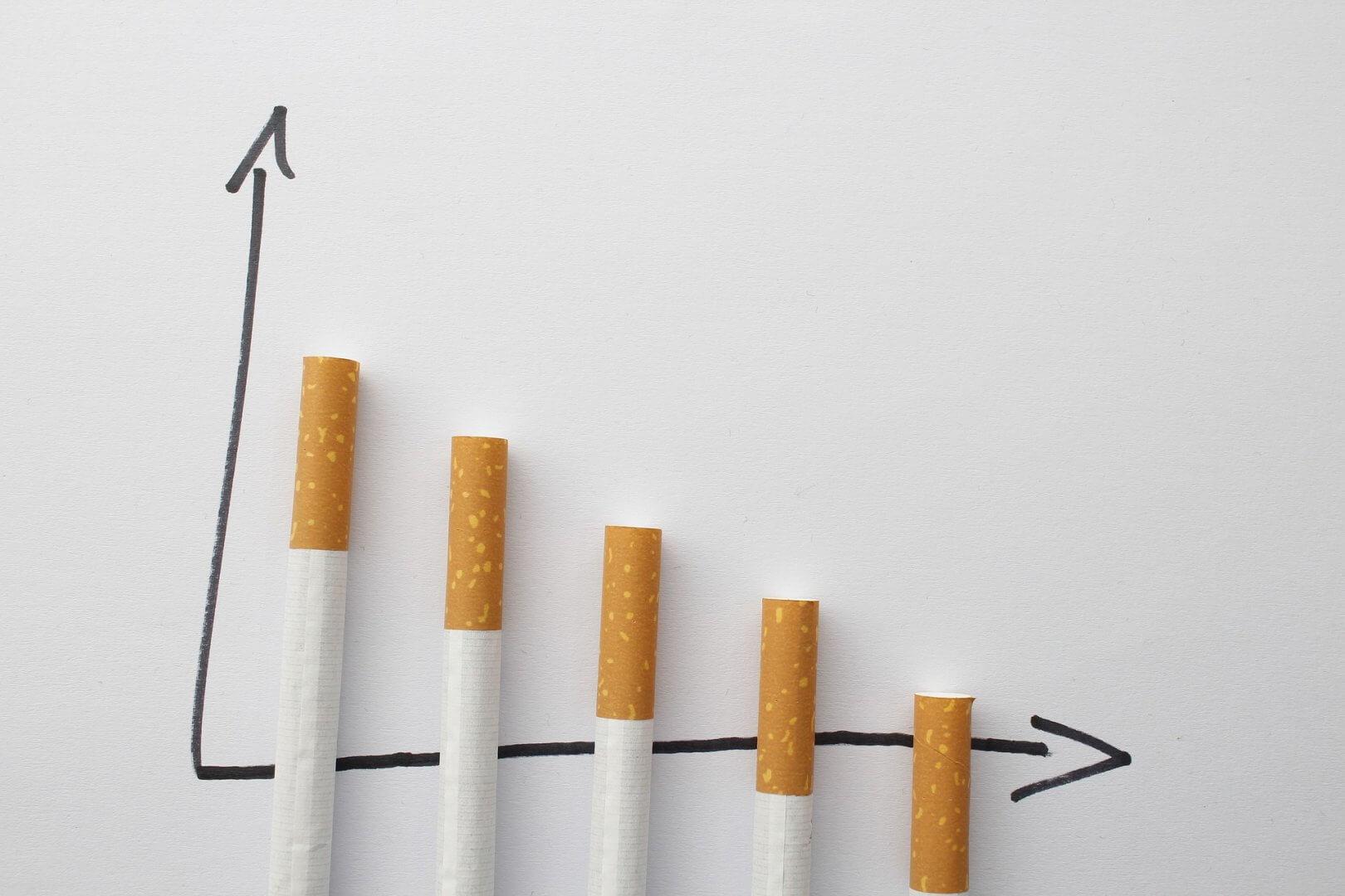 Zigaretten als Säulen in einer Statistik